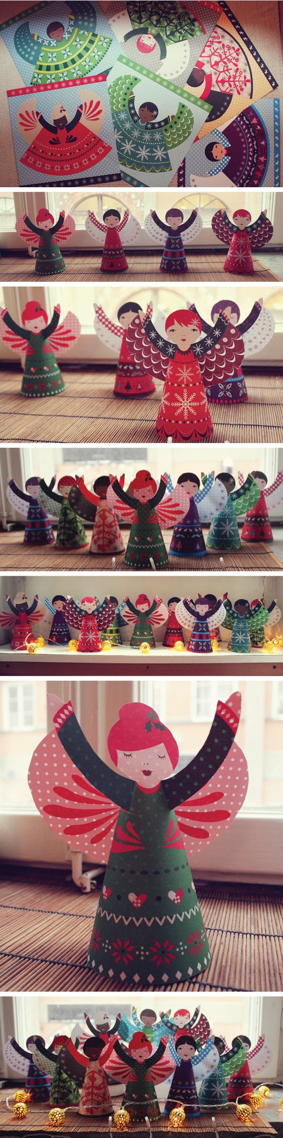 Folded paper angels from the usborne book of christmas for Art book decoration ideas