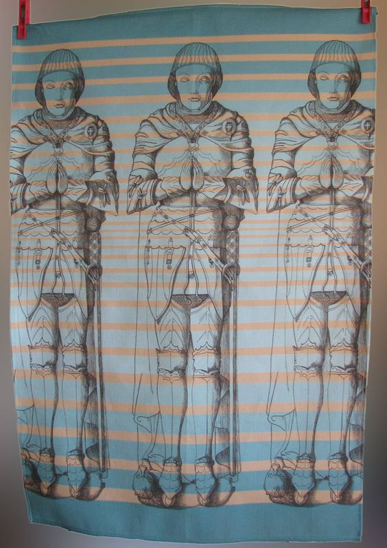Knight tea towel by Manymakepeaces on Etsy, $30.00 plus postage - created from a drawing I did back in the early 1990s...