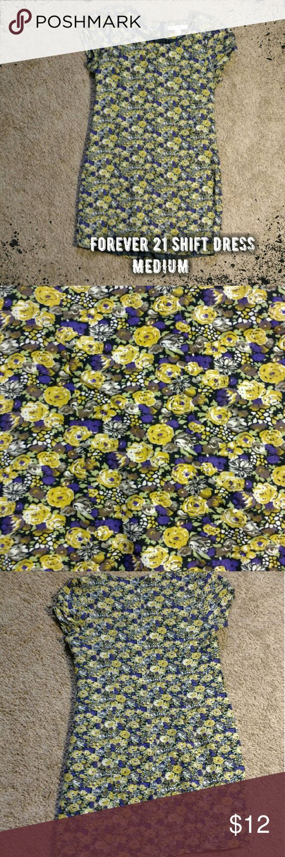 {Forever 21} Shift Dress - Forever 21 shift dress - purple, yellow, green and taupe floral pattern - short sleeves - lined - hidden back zip and hook and eye closure - bust: 17 inches - waist: 16 inches - length: 31 inches  Final price unless bundled.  No trades. No modeling. No PayPal.  100% rayon Forever 21 Dresses