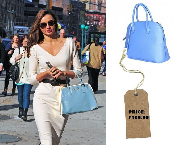 prada suede tote bag - Get this powdered blue Prada look alike bag as seen with, Miranda ...