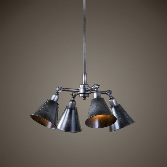 """Uttermost Fumant 4 Light Industrial Pendant. The Smoky Galvanized Finish Brings Out The Urban Appeal Of The Four Metal Shades Of This Pendant. It Is Rod Hung And Includes 3-12"""" Rods, 1-6""""rod For Pendant Mounting. The Single 3"""" Rod Attached To The Fixture Will Allow This Fixture To Be Installed As A * Uttermost's Light Fixtures Combine Premium Quality Materials With Unique High-style Design. * With The Advanced Product Engineering And Packaging Reinforcement, Uttermost Maintains Some Of..."""