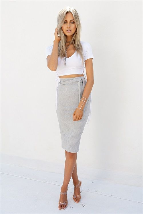 Ribbed Tie Skirt