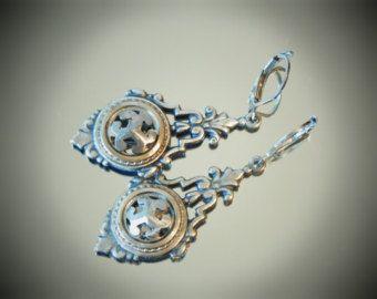 Antique Openwork  Steel Button Earrings, Victorian Style, Silver Tone