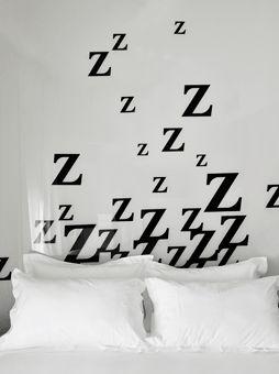 Graphic bedroom mural zzzz: