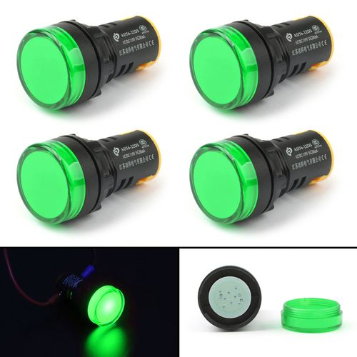 4pcs Led Indicator Pilot Light Signal Lamp Panel 110v 22mm Ip65 Ad56 22d Green Led Light Colors Green
