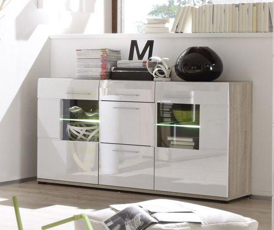 Dieses Sideboard wird Ihren Wohnraum nicht nur durch zusätzlichen Stauraum ergänzen. Die Fronten in hochglanz und die indirekte Beleuchtung sorgen für einen besonderen Hingucker. Sideboard in weiß hochglanz/ Eiche sägerau hell inkl. Beleuchtung 93-00126