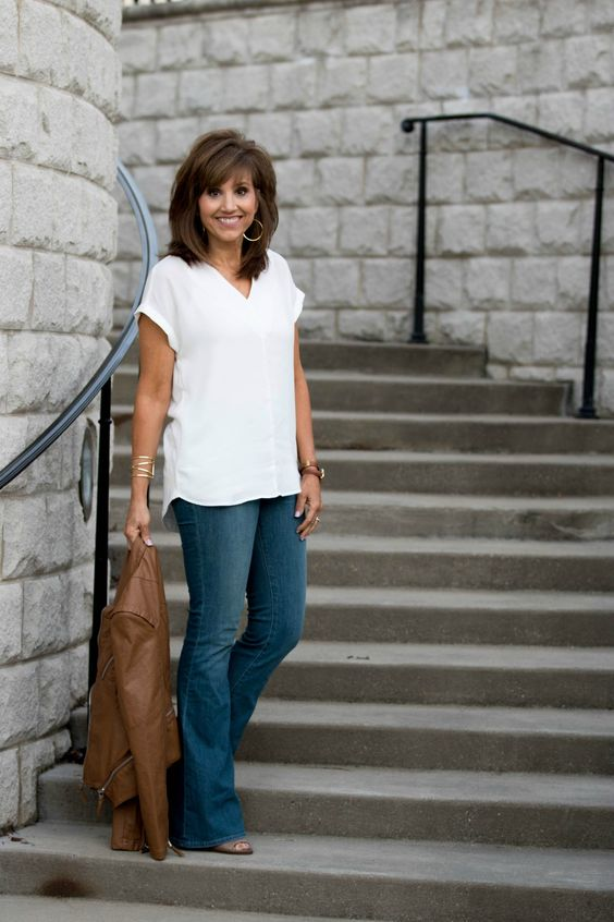 How To Style Flare Jeans - Grace & Beauty--I have flare jeans--these are helpful tips.