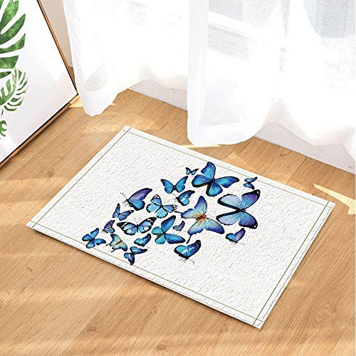 Nymb 3d Blue Butterflies Bath Rugs Non Slip Doormat Floor