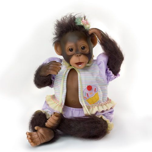 The Ashton-Drake Galleries Poseable Twin Baby Monkey Doll Set By Cindy Sales ...