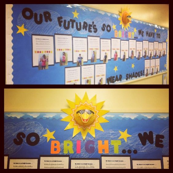 June Classroom Ideas ~ Our future s so bright we have to wear shades bulletin