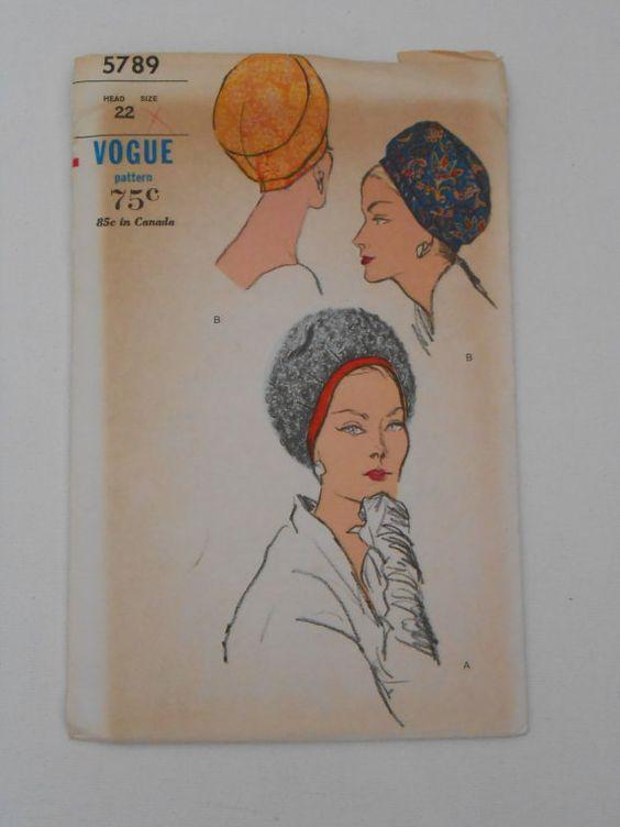 Vintage 60s Hat Cap Pattern Vogue 5789 Head Size by lisaanne1960, $24.00