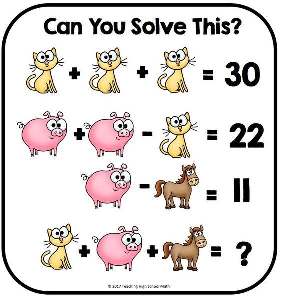 Algebra Critical Thinking Puzzles - set of 15 - FUN