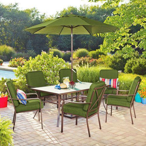 mainstays crossman 7piece patio dining set green seats 6 patio furniture - Walmart Outdoor Chair Cushions. Full Size Of Walmart High Back