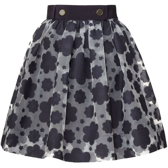 Orla Kiely Cloud Organza Skirt (€110) ❤ liked on Polyvore featuring skirts, mini skirts, bottoms, saias, gonne, midnight, blue skirt, ruched skirts, sheer skirt and organza skirt