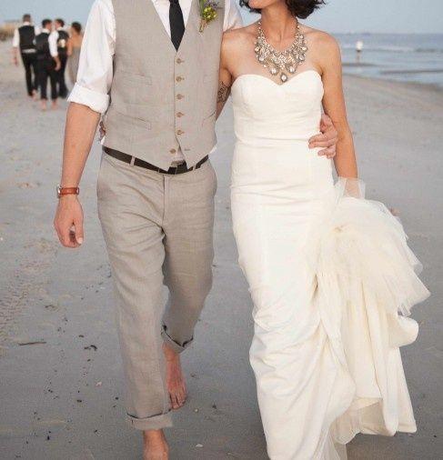 46 Cool Beach Wedding Groom Attire Ideas | Weddingomania. I like color of dress & groom. Like bride necklace.