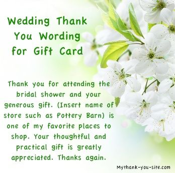 Thank You Wedding Gifts Wording : Wedding thank you card wording for gift card / Thank You Bridal Shower ...
