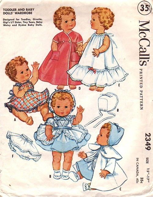 """Ginny Vintage 1950s Baby Doll Clothes Pattern ~ for 8/"""" 9/"""" Ginnette Dy Dee Baby"""