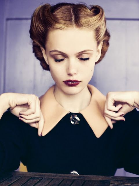 BEAUTIFUL! reminds me of those classic pictures from grandmas teen days...deep red lipstick, fair skin and perfect hair