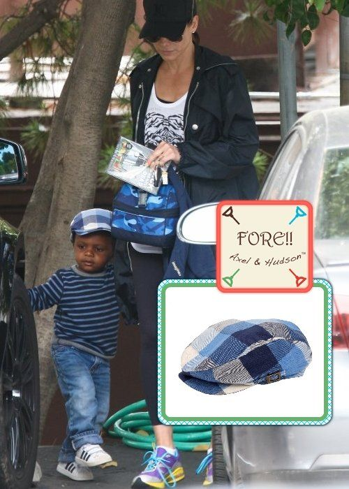 Louis & Sandra Bullock ~ love his Fore! Axel and Hudson hat! from celebritybabyscoop.com