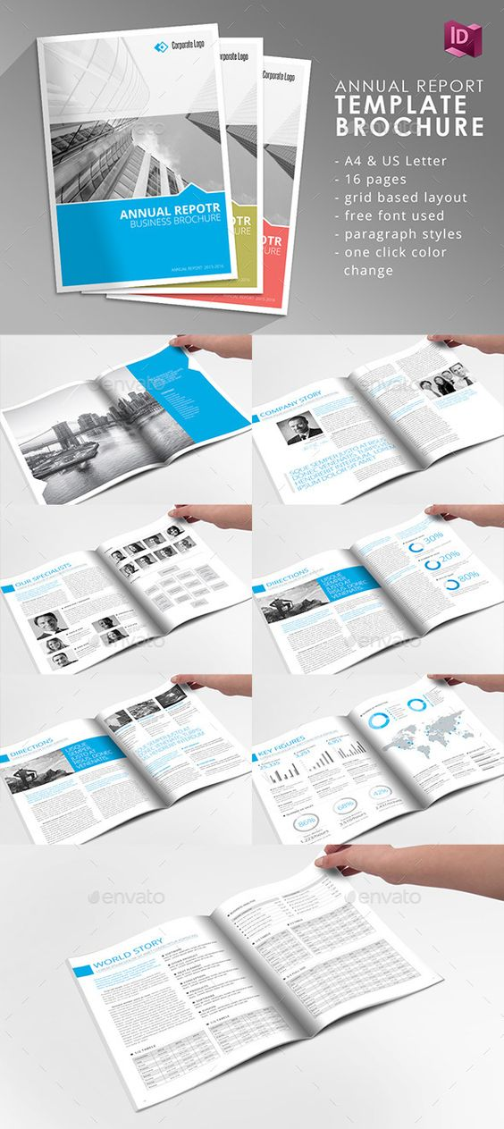 Student College Newsletter Indesign Template Mise en page, Mise - business annual report template