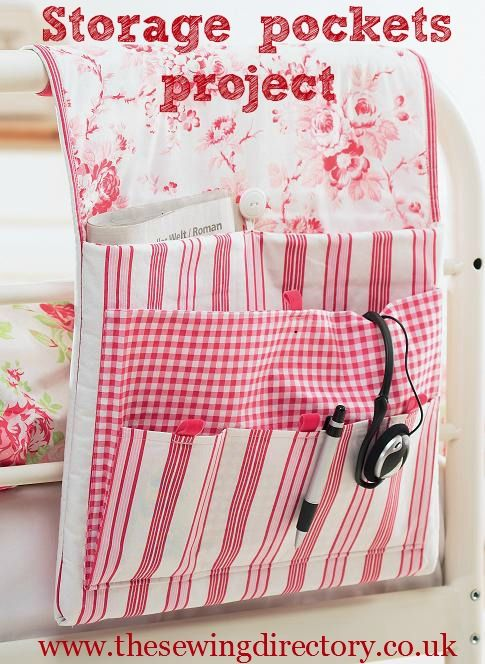 Storage pockets tutorial - you can hang them from your headboard. #sewing #project