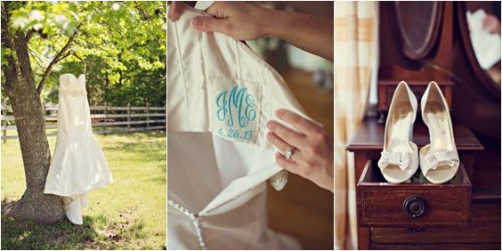 wedding dress, blue monogram on the inside of the bride's dress, bride's shoes, traditional purple monogram wedding, southern wedding, Ginny Corbett Photography