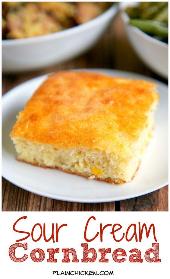 Sour Cream Cornbread | Sour Cream Cornbread, Cornbread and Cornbread ...