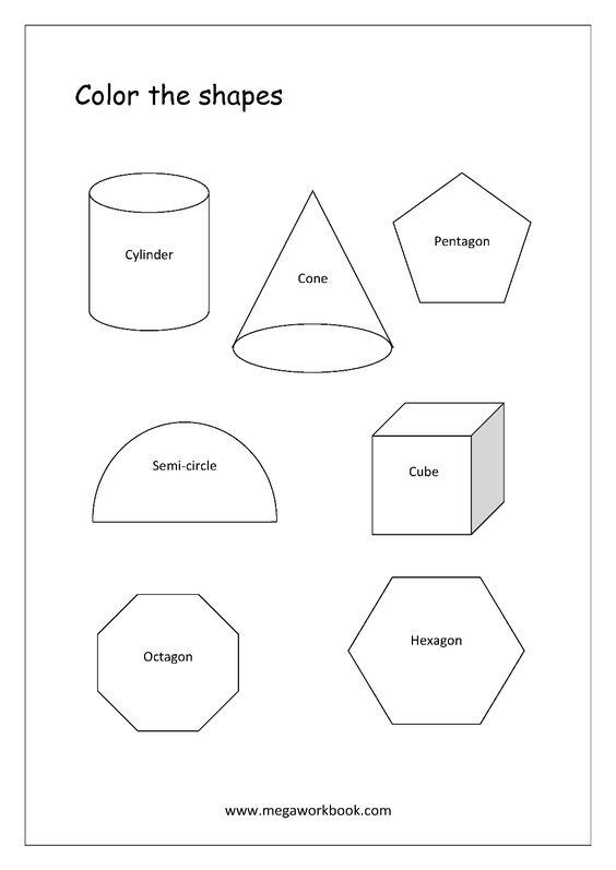 Strong Em Advanced Shapes Coloring Worksheets Cylinder Cone Pentagon Hexagon Shape Worksheets For Preschool Shape Tracing Worksheets Shapes Worksheets Semi circle worksheet for kindergarten