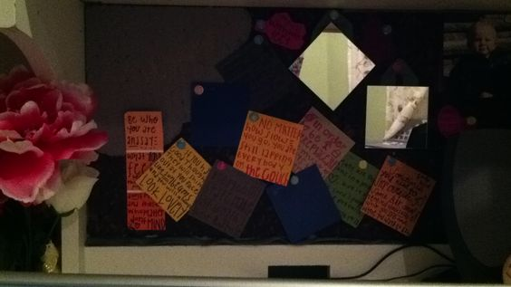 Using paint chips as post it notes and writing quotes on them- mirror to look at your beautiful self- chalkboard to keep your cork board fresh!