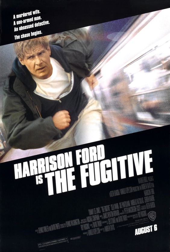 1992:The Fugitive. action thriller:. directed by Andrew Davis stars Harrison Ford and Tommy Lee Jones, and based on the 60s television series. After being wrongfully convicted for the murder of his wife, Dr. Richard Kimble (Ford) escapes from custody and sets out to prove his innocence while pursued by U.S. Marshals Deputy Samuel Gerard (Jones).  was nominated for seven Academy Awards including Best Picture; Jones won the Oscar for Best Supporting Actor.