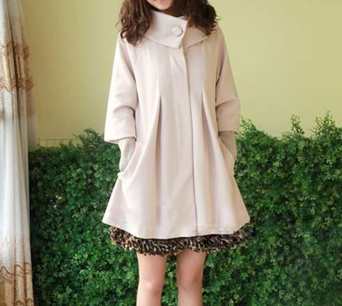 women&39s Princess style beige cape Fitted Wool Coat jacket Wool