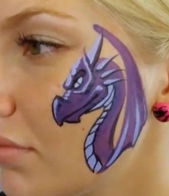 Dragon face paint cheek
