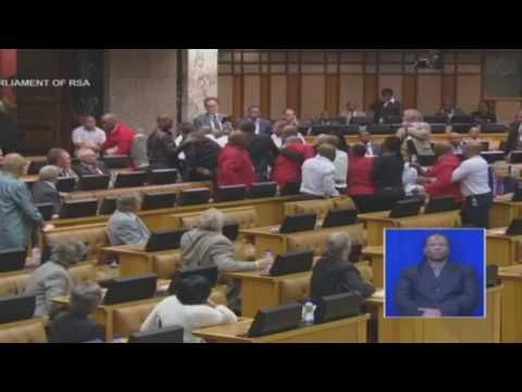 Water bottles, handbags and fists fly as EFF is thrown out of Parliament...