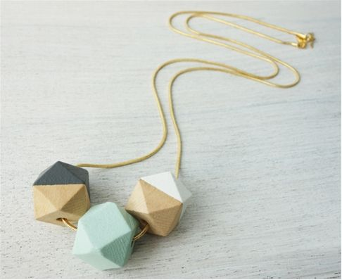 Long Wooden Polygons Necklace