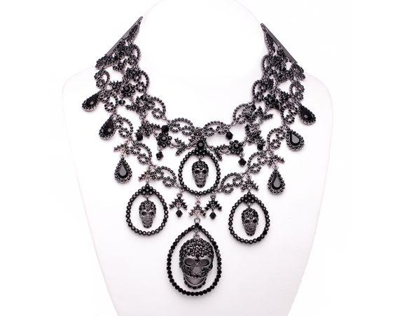 Swarovski Crystal NECKLACES | Jet Swarovski Crystal Skulls Fancy Large Necklace Swarovski Crystals ...