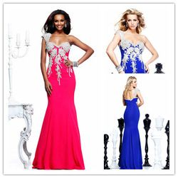 Online Shop Sparkly One Shoudler Royal Blue Memaid Prom Dresses Long 2014 vestido de noiva Open Back Evening Party Gowns|Aliexpress Mobile
