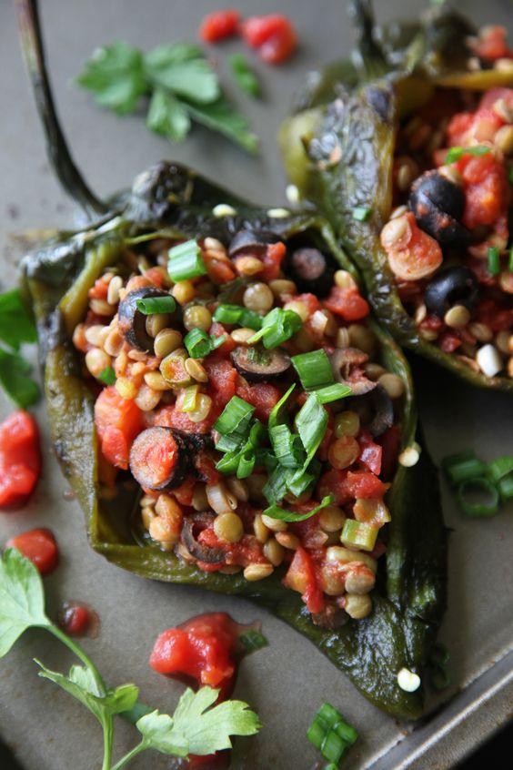 Lentil Stuffed Poblano Peppers (Vegan + Gluten Free):