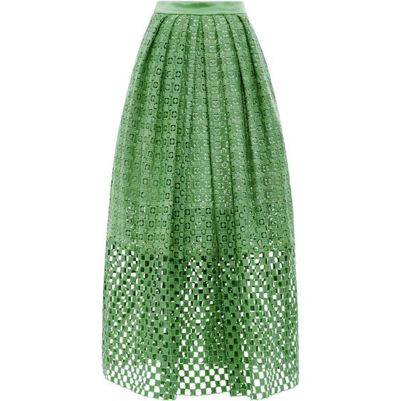 Tibi Sonoran Eyelet Skirt ($398) ❤ liked on Polyvore featuring skirts, peridot multi, eyelet skirt, tibi skirt, pleated skirt, green pleated skirt y tibi