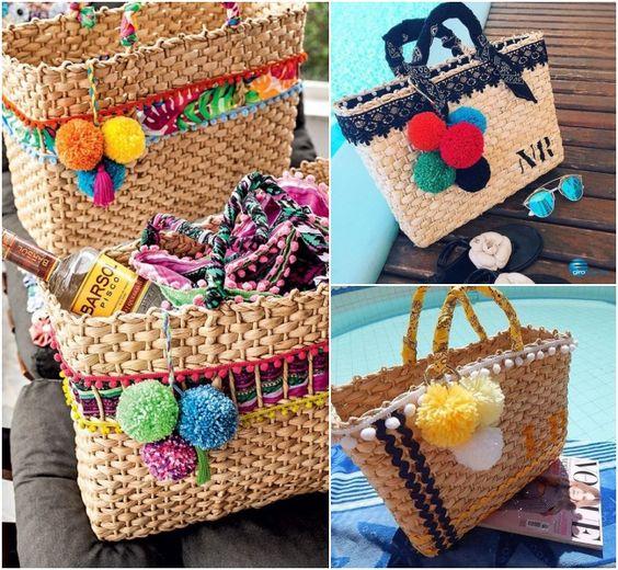 Bolsas de palha ganham cores e alegria nesse verão! Simples, porém super trending: