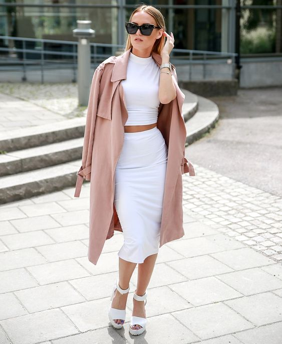crop top with pencil skirt and lightweight coat