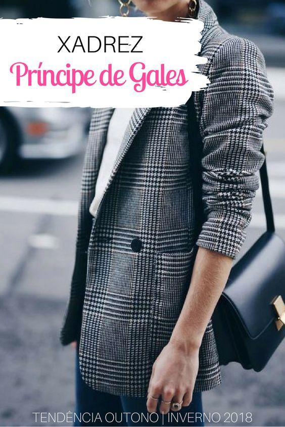 moda tendência: xadrez príncipe de gales