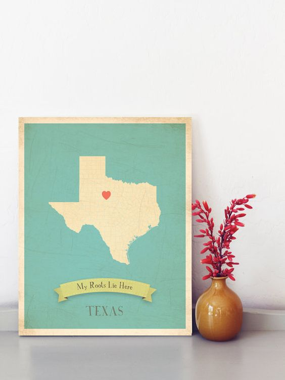 Texas Roots Map 11x14 Customized Print. $40.00, via Etsy.: Aw Maps, Birthday Gift, Two Hearts, Cute Ideas, Vintage Maps, Multiple Hearts, Heart Stickers