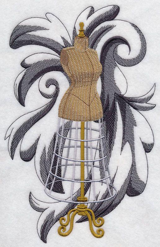 Dress Form Flourish design (H6967) from www.Emblibrary.com: