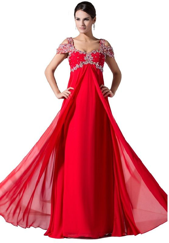 Ball Gown Prom Dresses - Cheap red long formal evening plus size ...