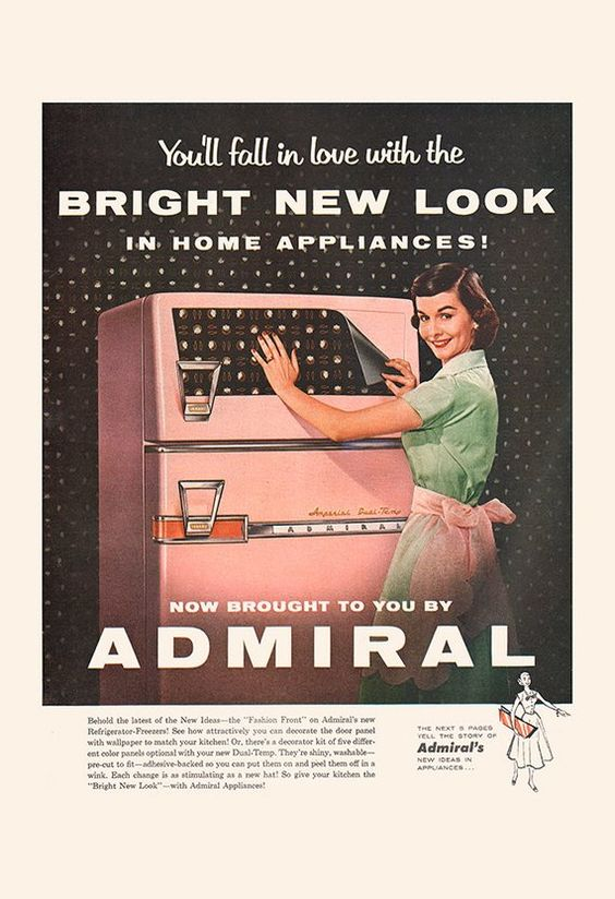 VINTAGE KITCHEN AD - Retro Mid-Century Ad - Vintage Admiral Fridge Ad, Retro Fridge Poster, Vintage