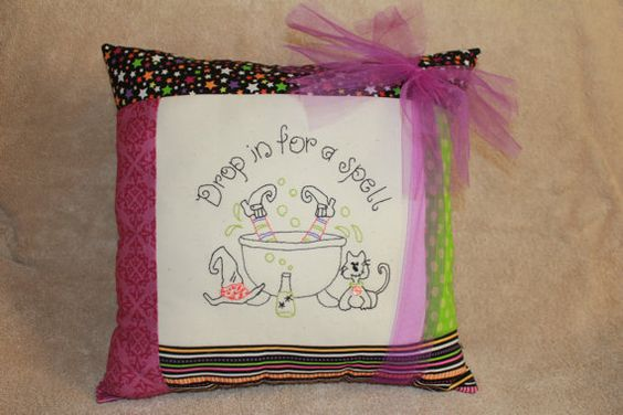 So cute - I need this I think:)  Drop In For A Spell Pillow Fabric Kit by KarellisKorner