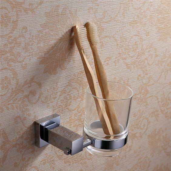 Zahnputzbecher Set Glas Bad Zahnbürstenhalter ZahnputzsetHalter Wand…