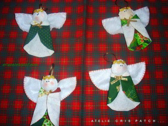 Lindos anjos para enfeitar sua arvore de Natal,em tecido 100% algodao e feltro, Este valor da unidade,para maiores quantidades acima de 20 und. 9,50 R$ 12,00