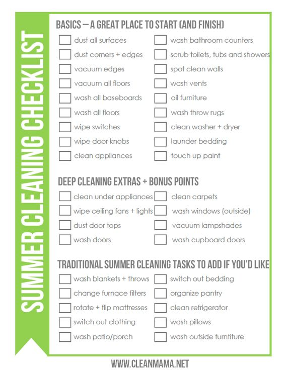 Free Summer Cleaning Checklist  Clean Mama Cleaning Checklist