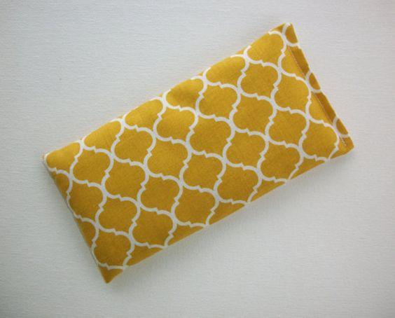Aromatherapy Eye Pillow - lavender / flax seeds - Mustard yellow trellis - yoga mask - spa sleep relaxation stress relief - coworker teacher